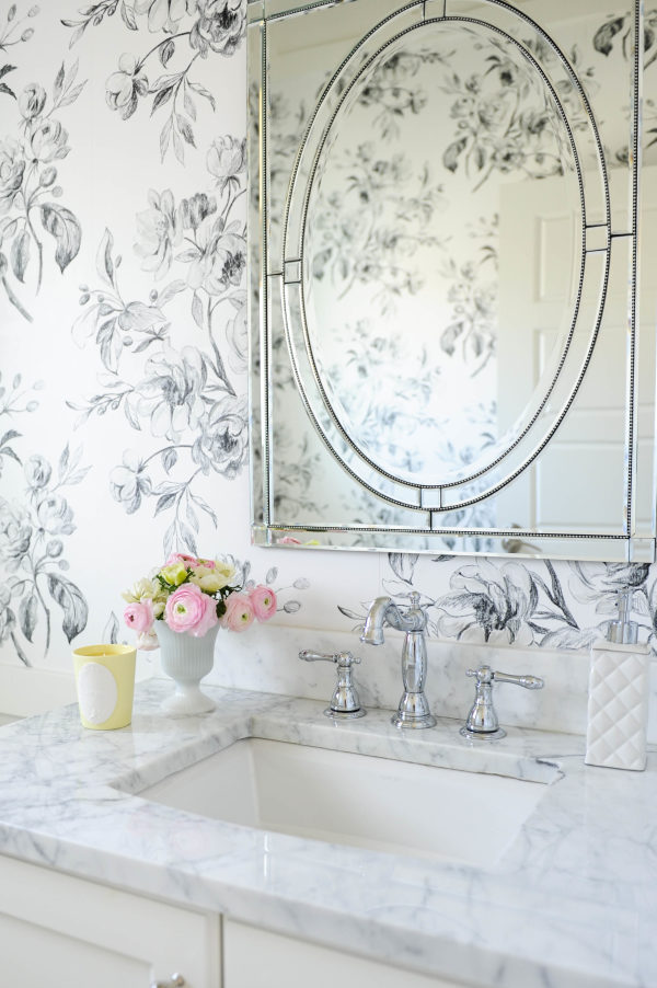 pretty feminine bathroom wallpaper