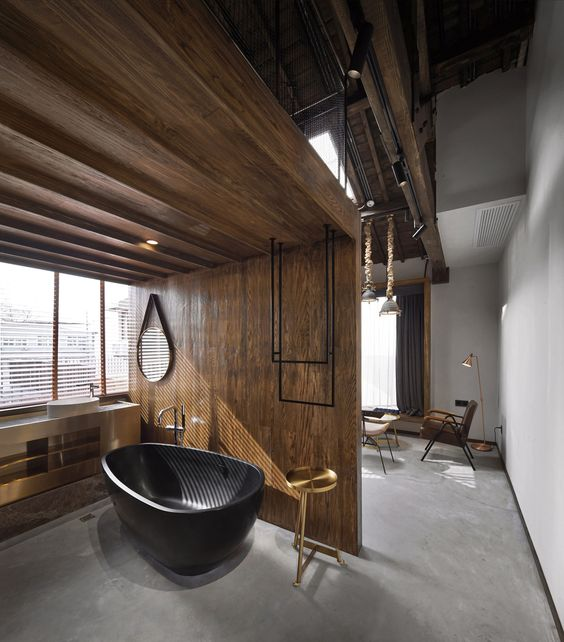 rustic with black tub