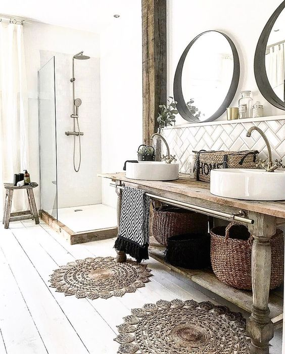 rustic bathroom with rugs