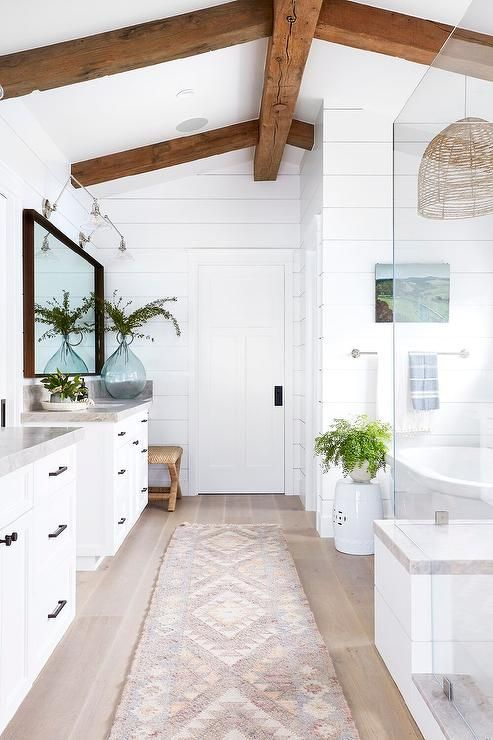 Bathroom with timber beams