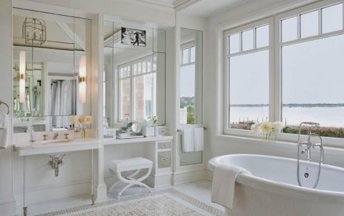 Hamptons bathroom with ocean view