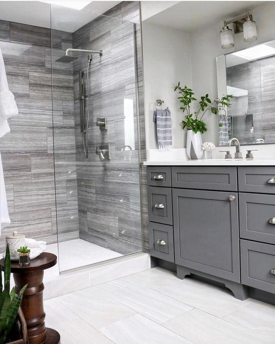 40 Grey Bathroom Ideas Grey And White Bathrooms Grey Bathroom Tiles