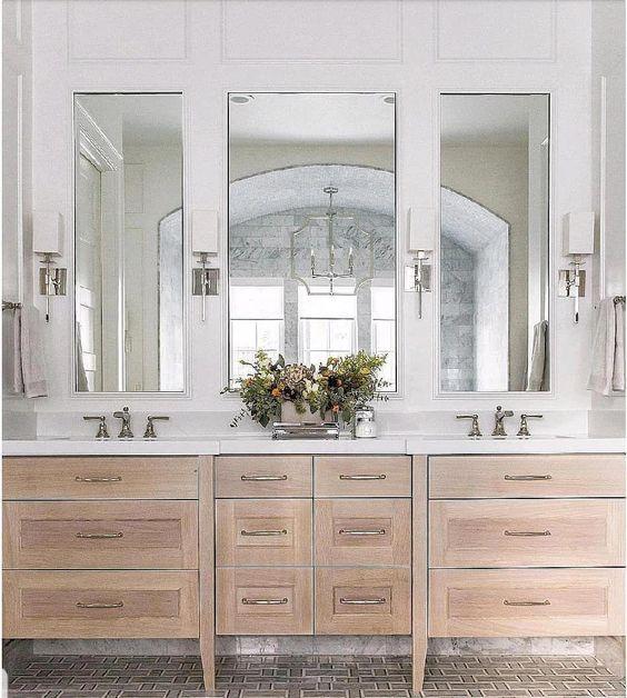 Hamptons bathroom wooden vanity