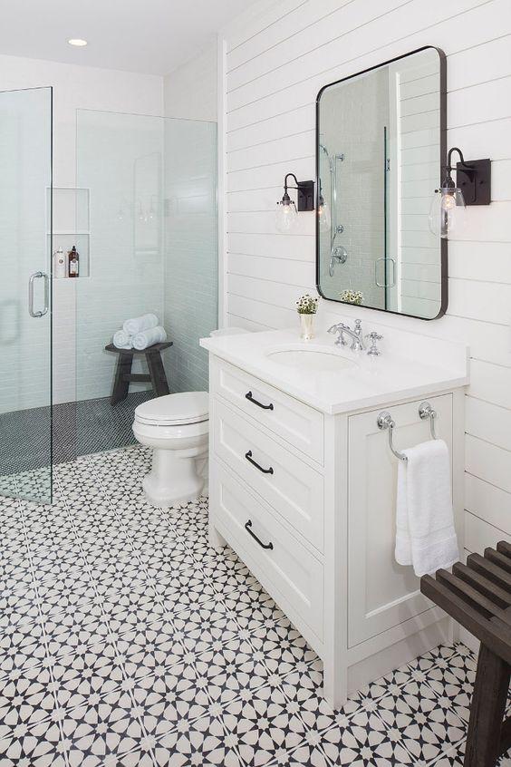 Patterned tiles industrial bathroom