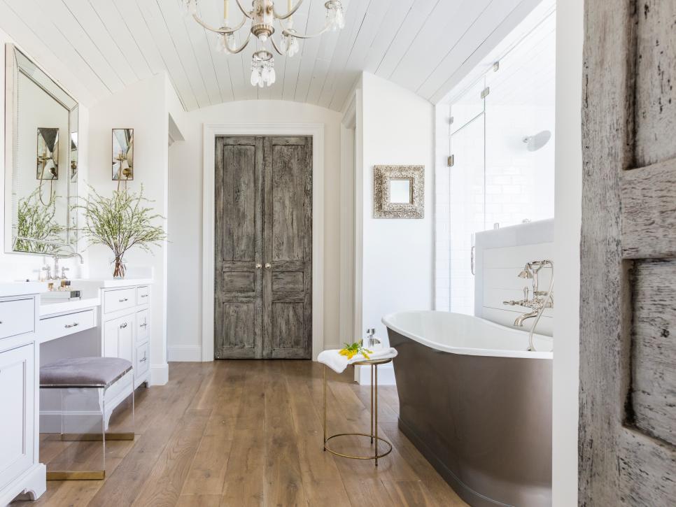 Wood rustic bathroom doors