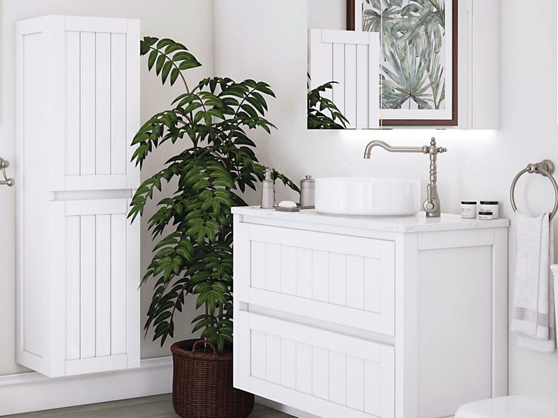 White bathroom pannelling