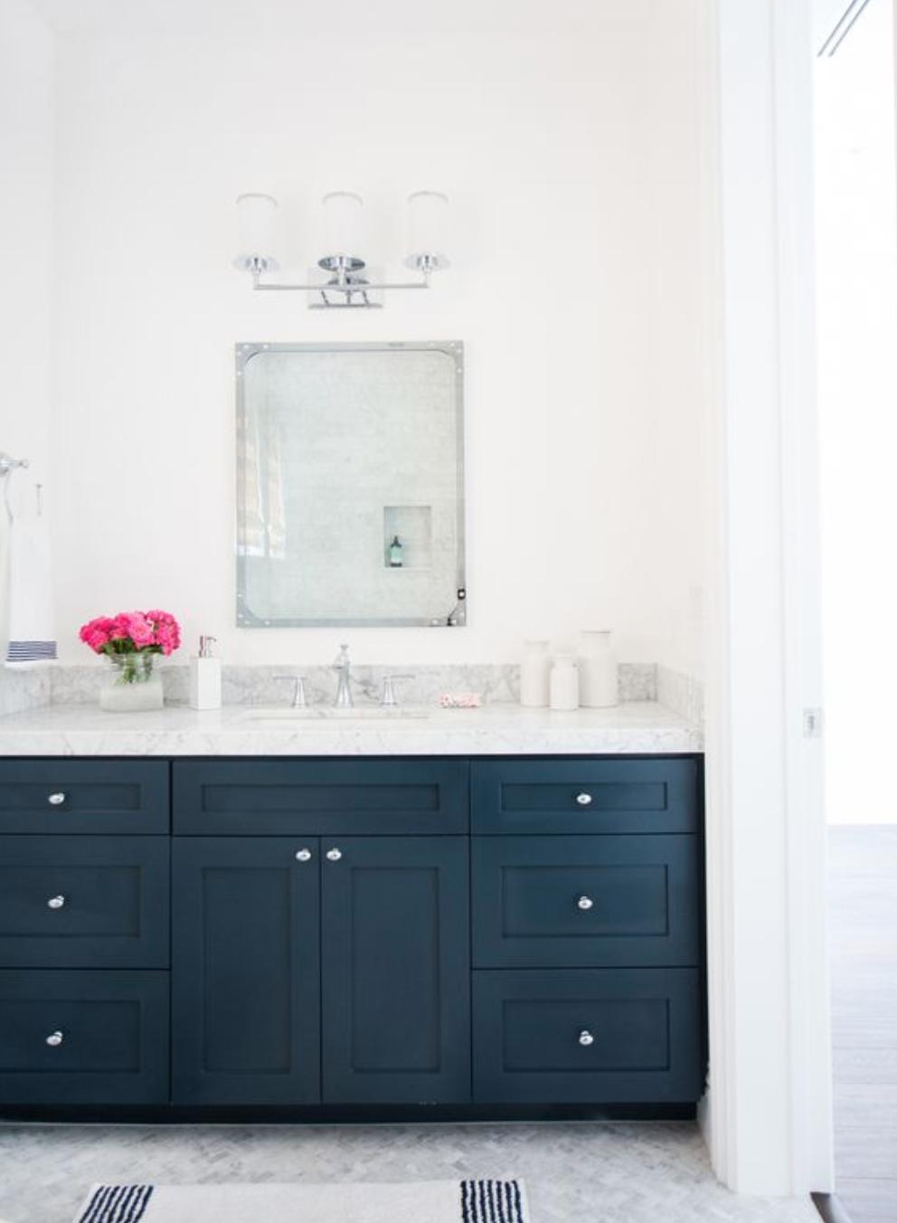 dark navy cabinetry bathroom