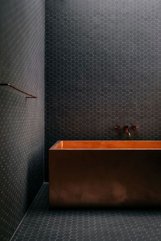 dark bathroom focal point