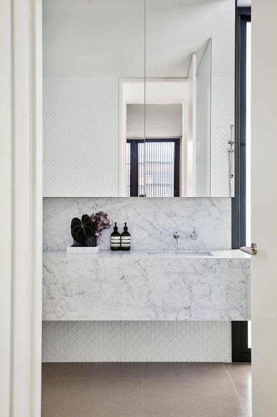 dainty white marble vanity