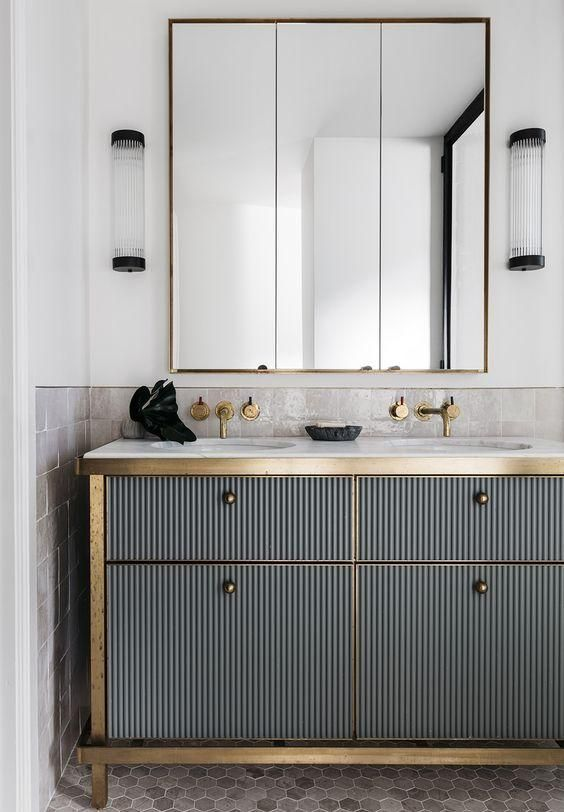 double vanity gold detail
