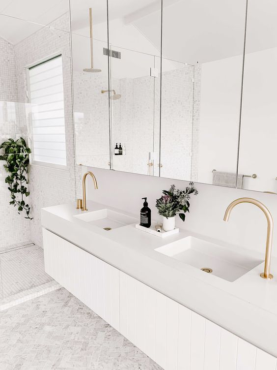 gorgeous taps in this Jack and Jill bathroom