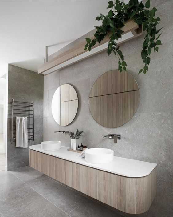 larger timber look laminated vanity