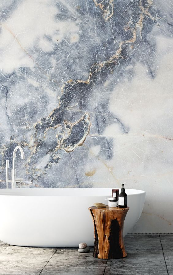 fake it with marble wallpaper