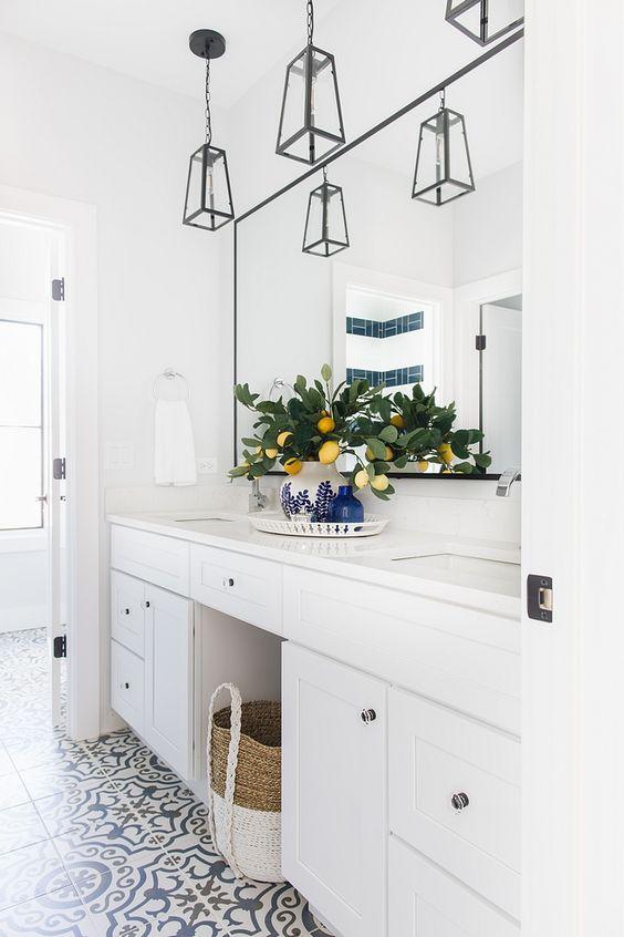 modern white double sinks