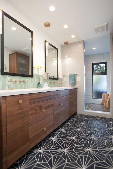 renovated midcentury Jack and Jill bathroom