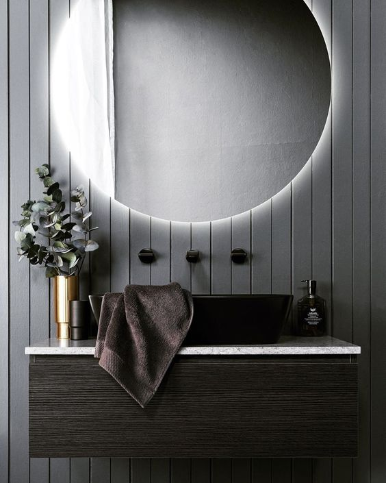 sophisticated dark panelling