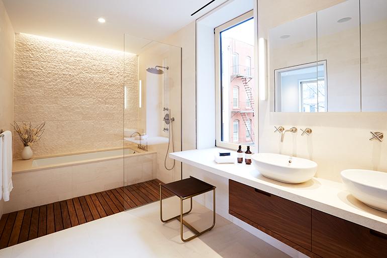 teak and limestone vanity