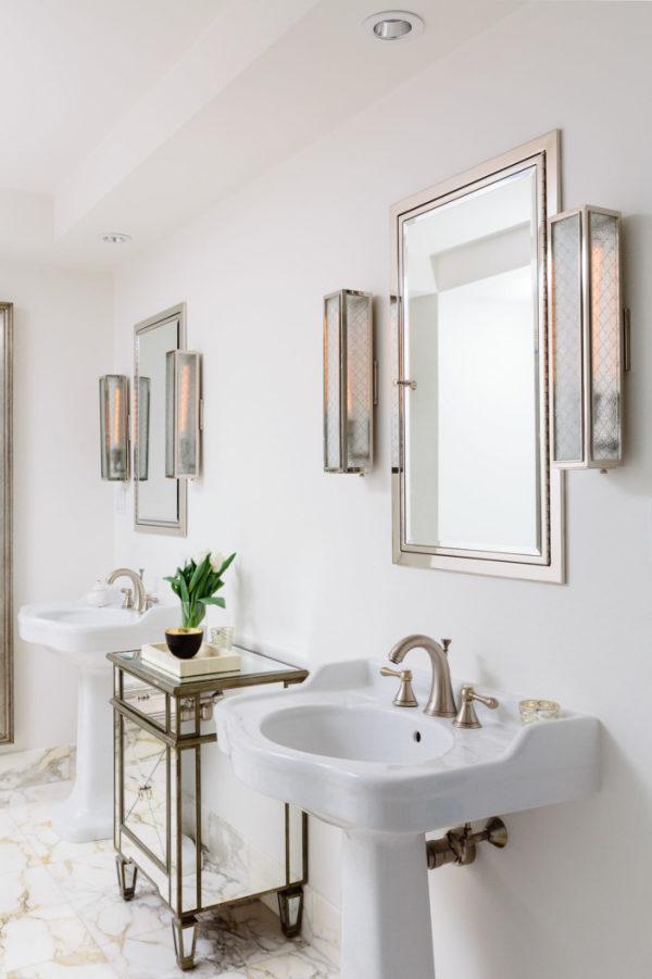 twin pedestals in glam bathroom