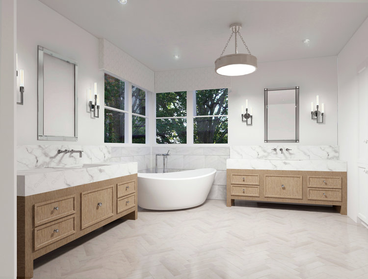 asymmetrical with two vanities