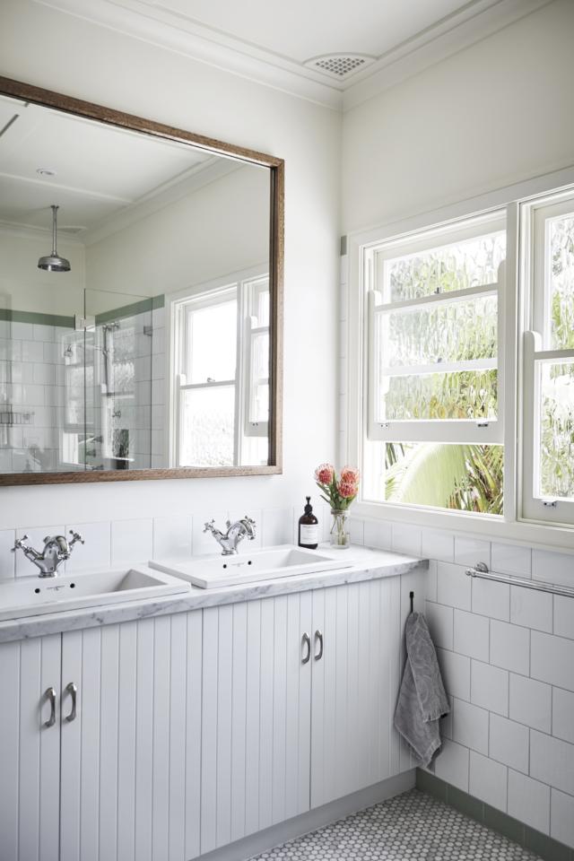 charming white Jack and Jill bathroom