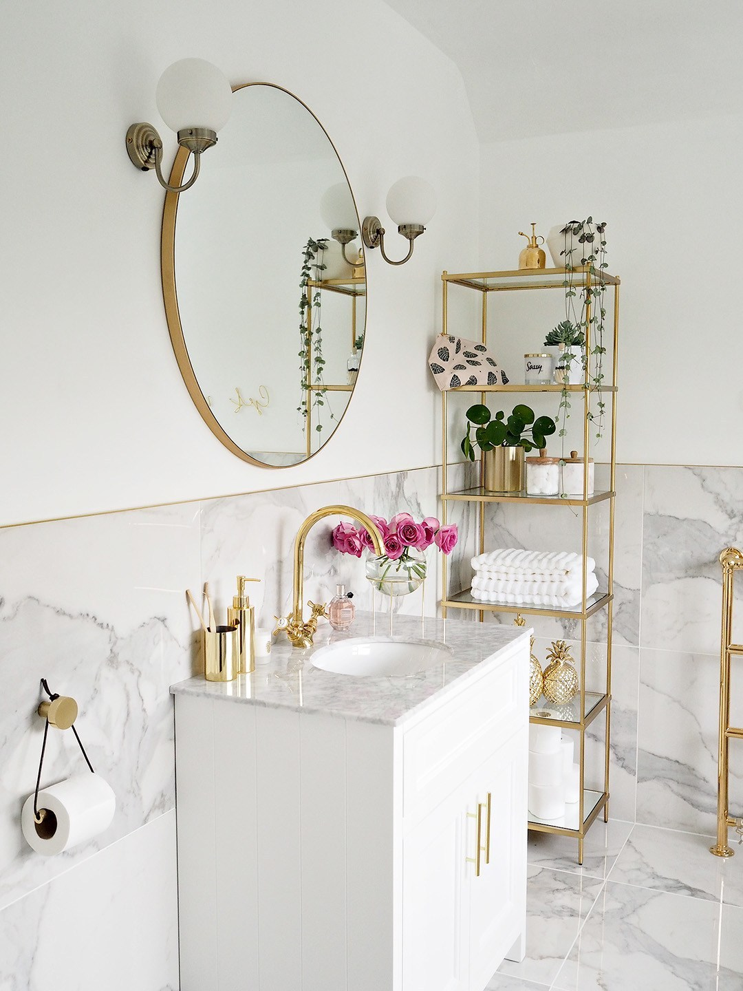 white marble and gold