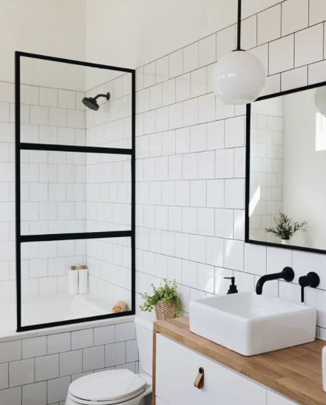 Black white timber bathroom