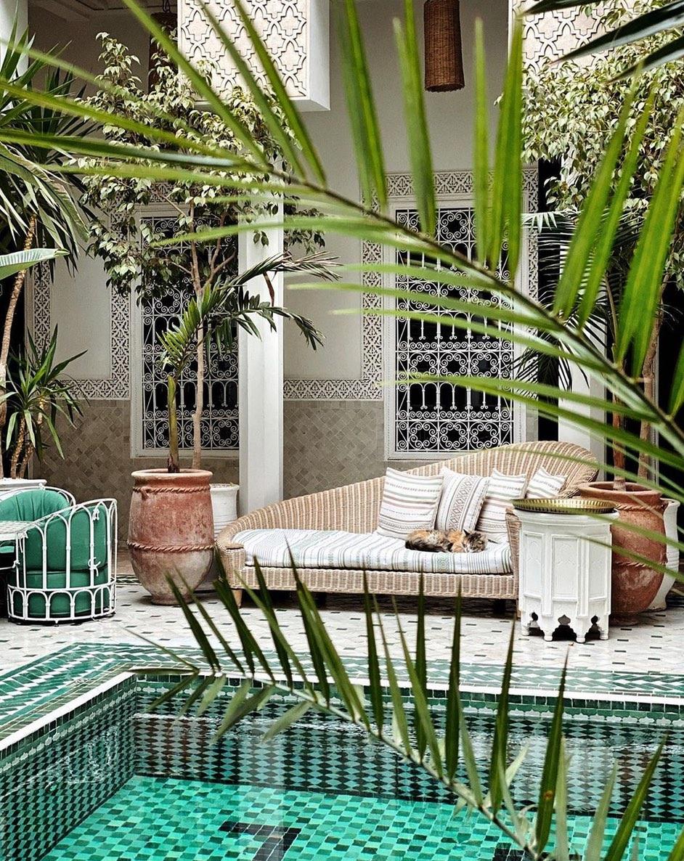 Pool with greenery