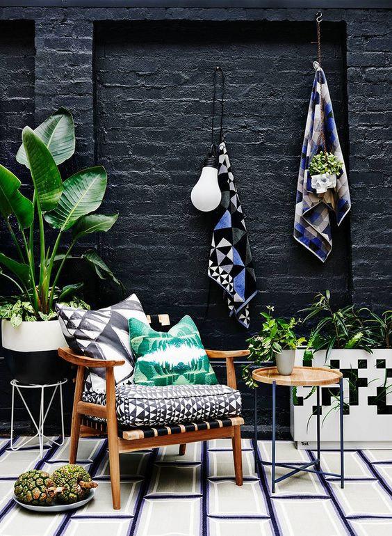 black and timber courtyard garden