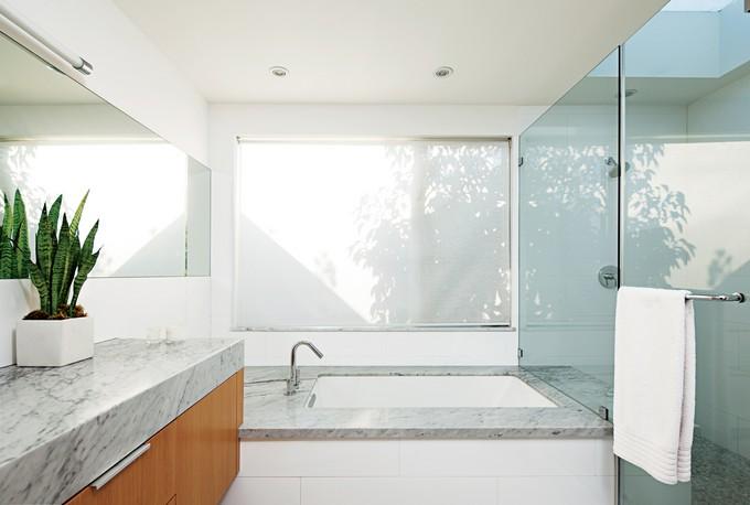 luxe bathroom with skylight