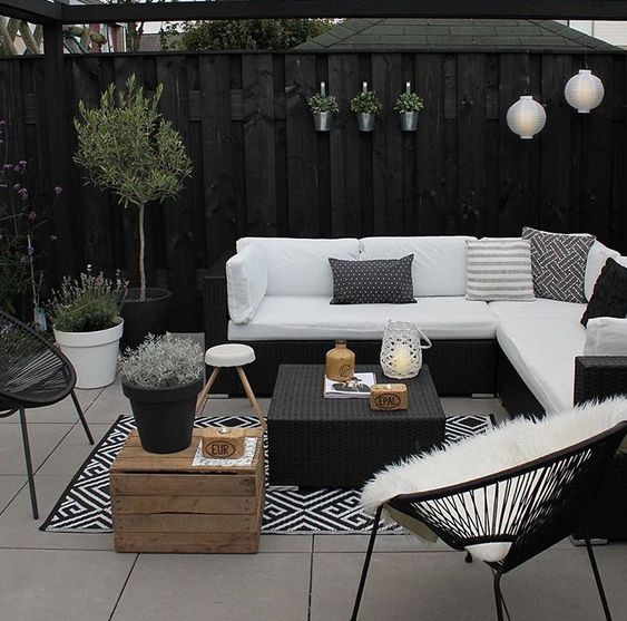 monochrome courtyard garden