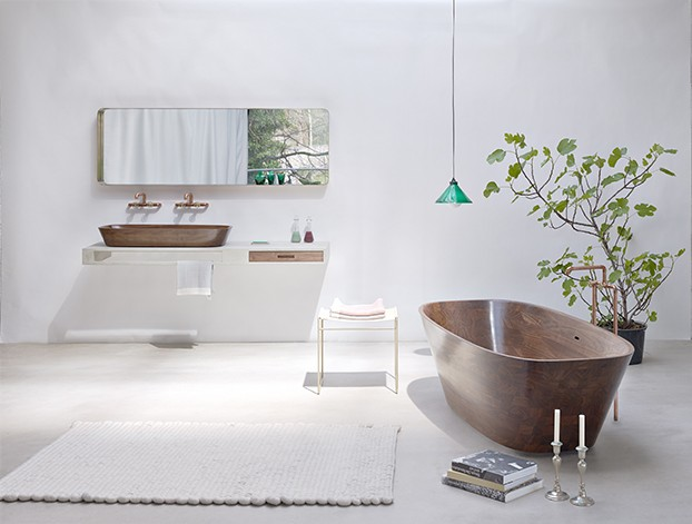 wood tub in luxury bathroom