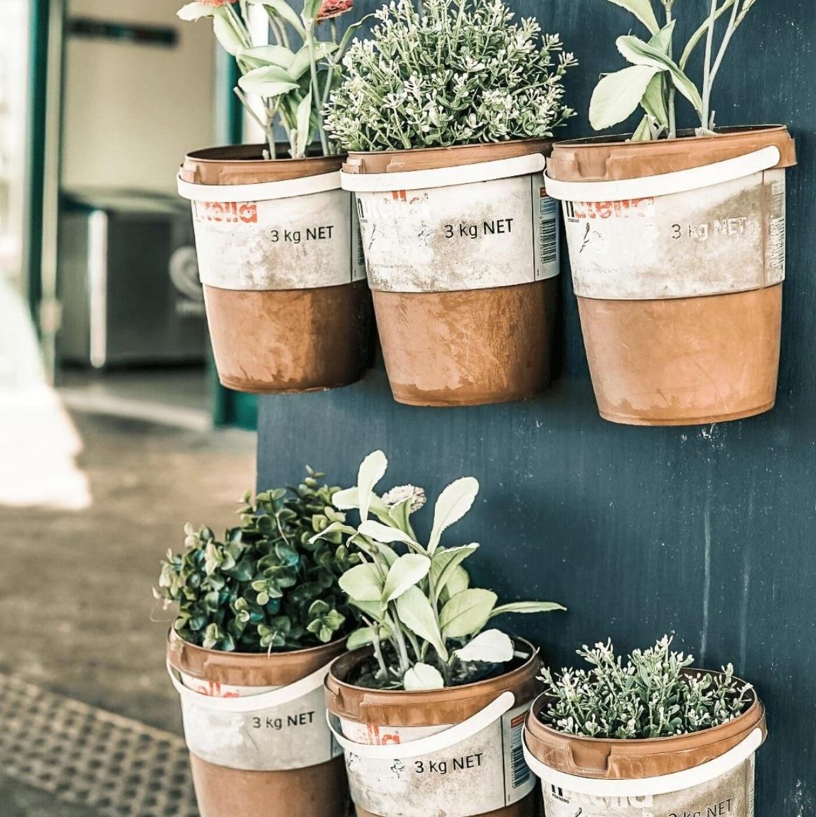 Pots on wall