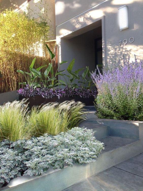 asymmetrical terraced front garden