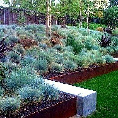 blue terraced garden
