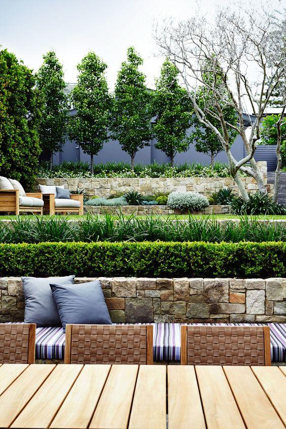 horizontal lines of a terraced garden