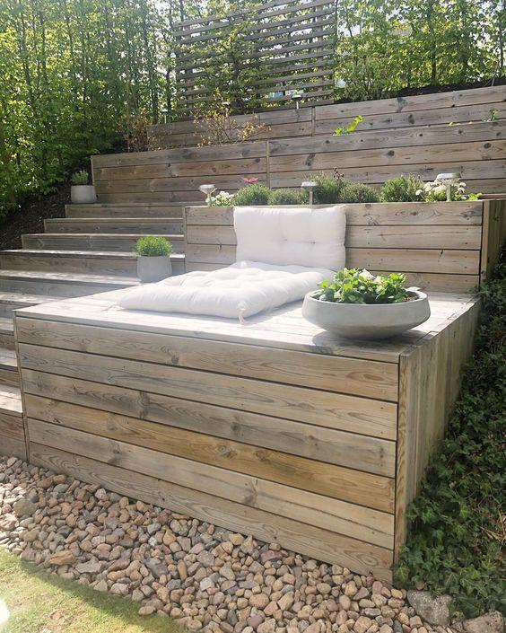 neat english terraced garden