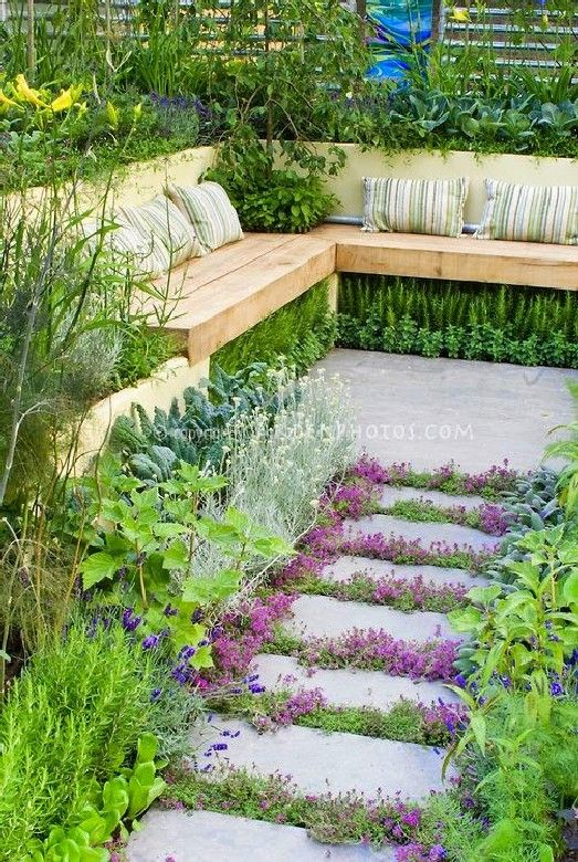 sunken terraced garden