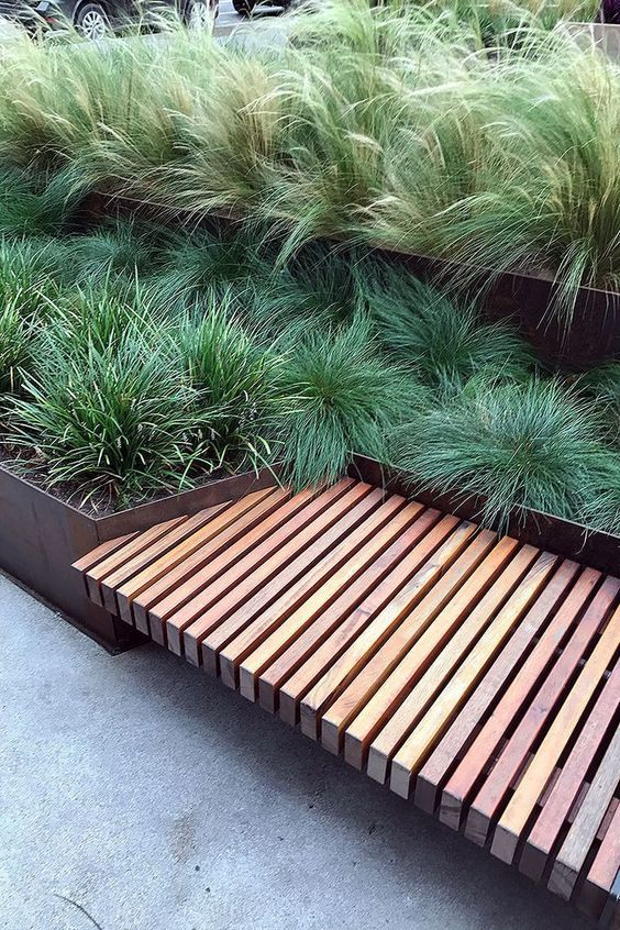 terraced with grasses