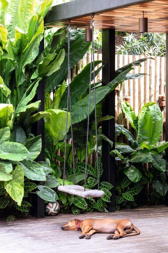 tranquil swing in tropical garden