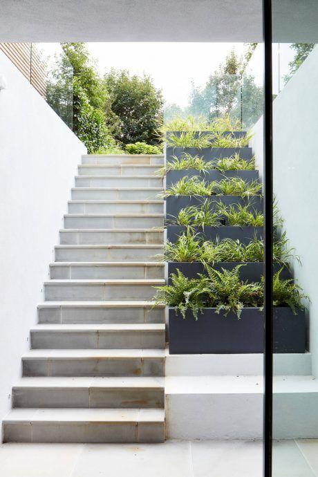 very steep terraced garden