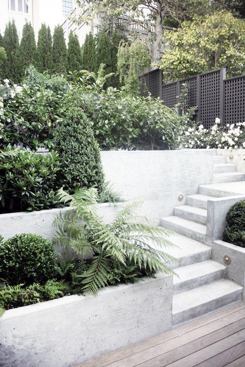 white terraced garden