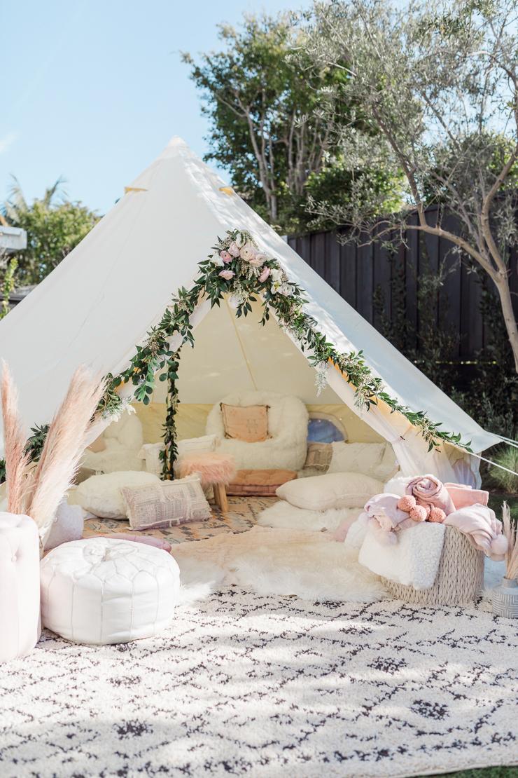 backyard boho tent garden party