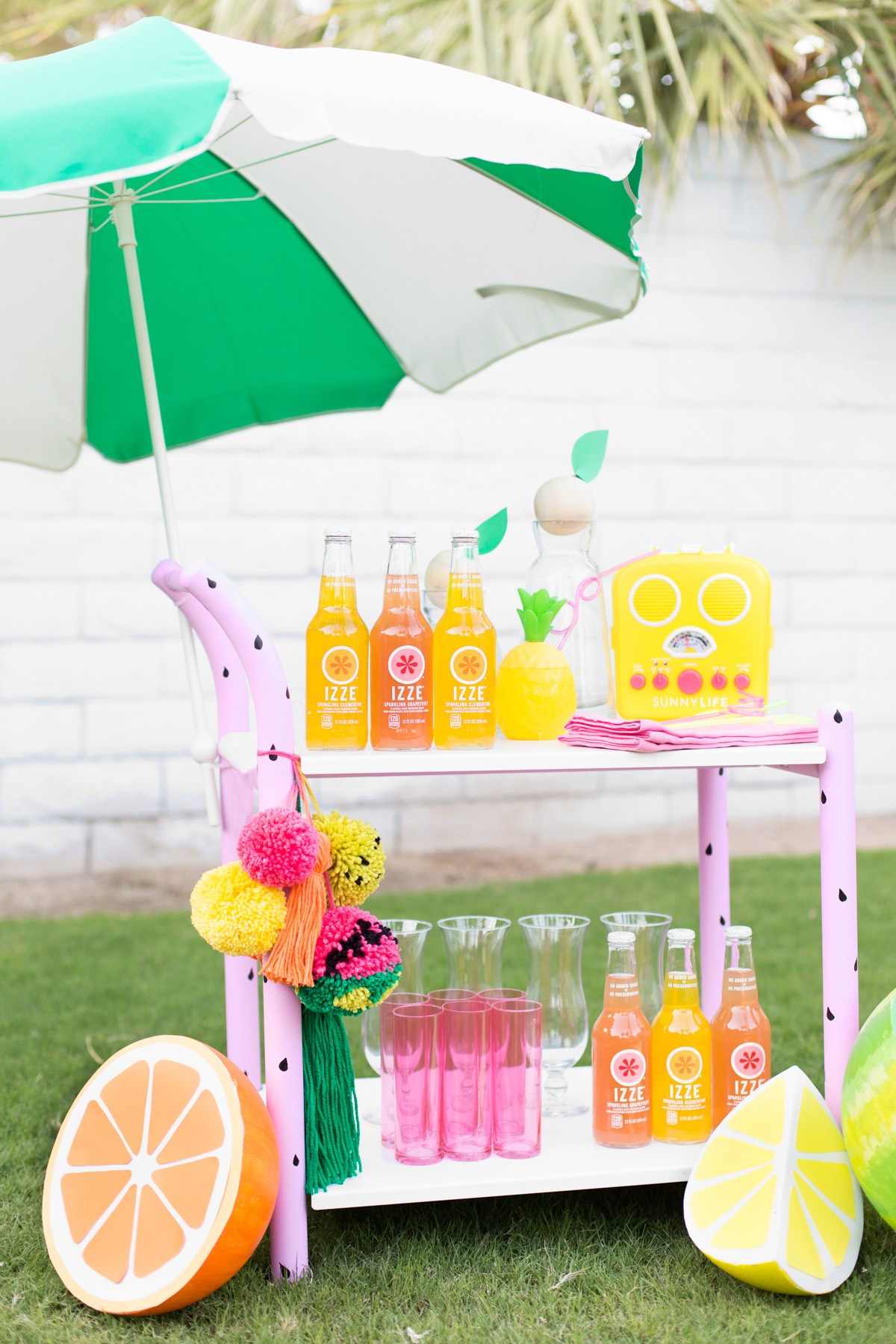 Colourful bar cart for party