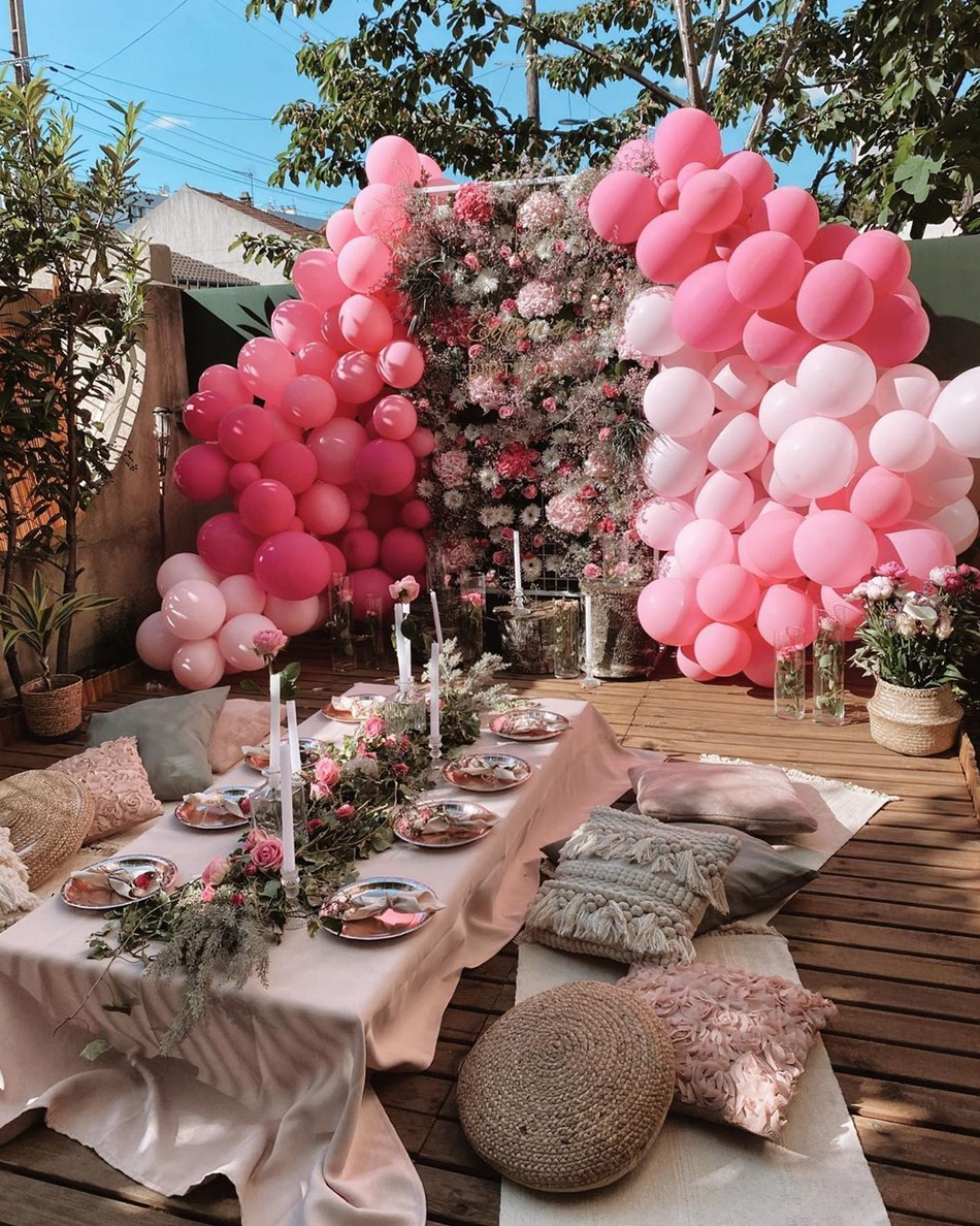 Pink patio outdoor party