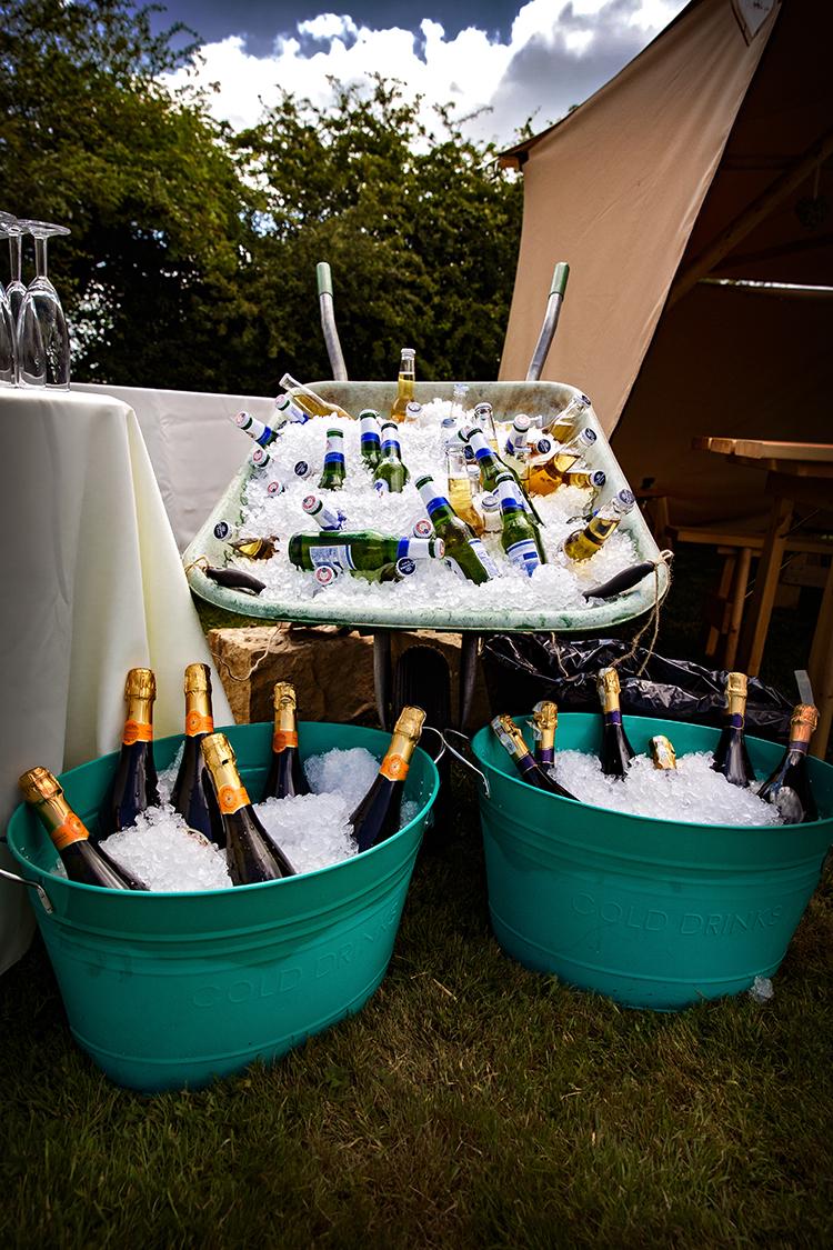drinks in wheelbarrow
