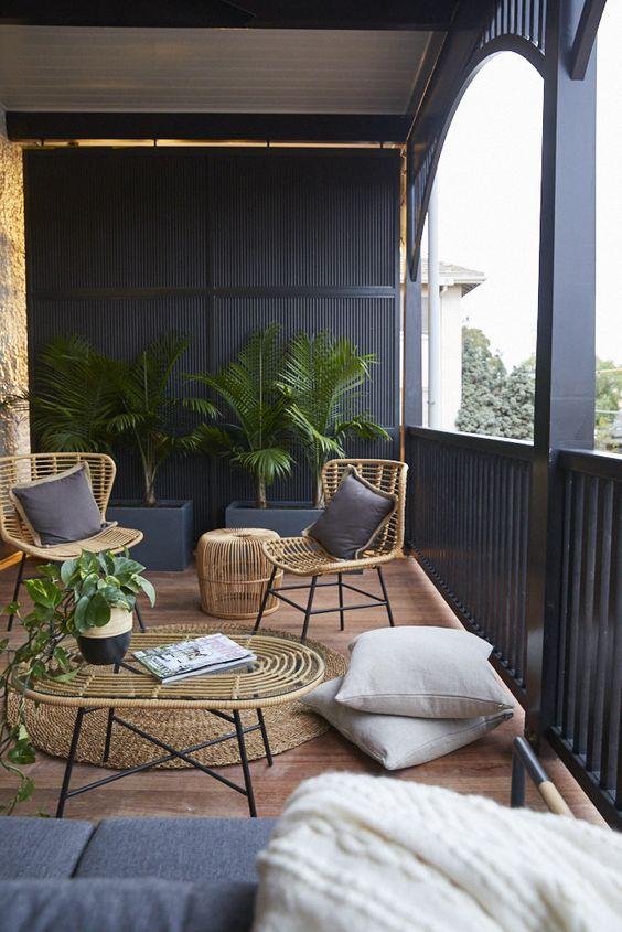 black and naturals verandah ideas