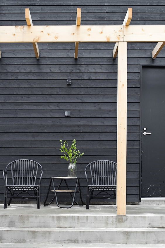 concrete black and pale timber verandah ideas