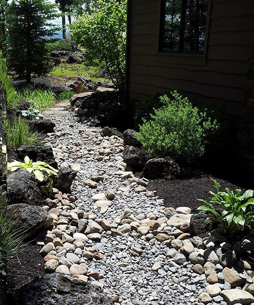 side of house ideas dry stream bed