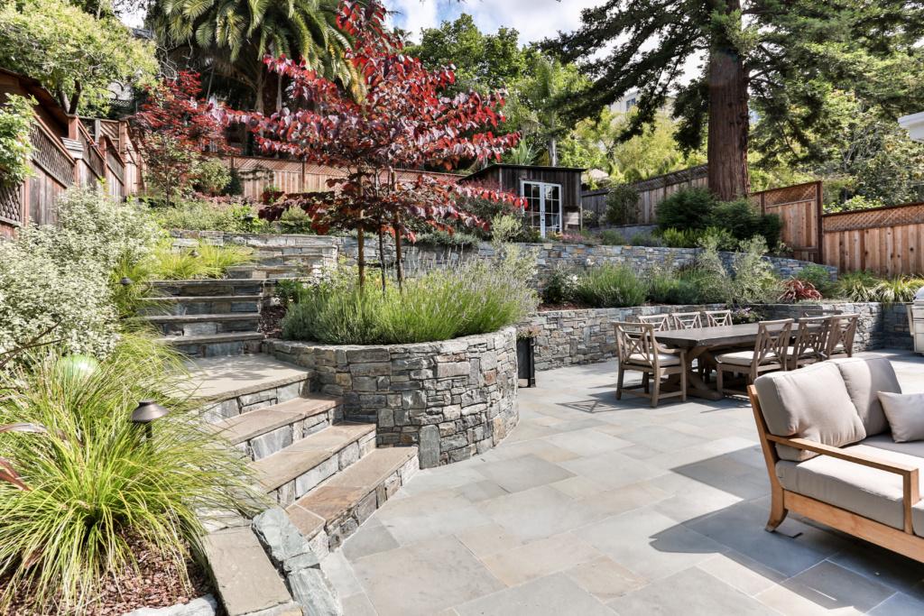 large terraced backyard