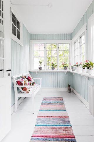 pastel blue enclosed verandah